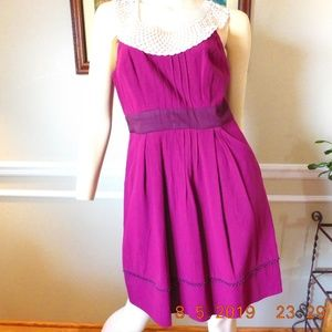 Floreat Betine Crochet Collar Dress with Pockets